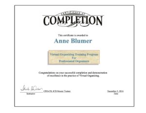 Photo of Virtual Organizing Certificate