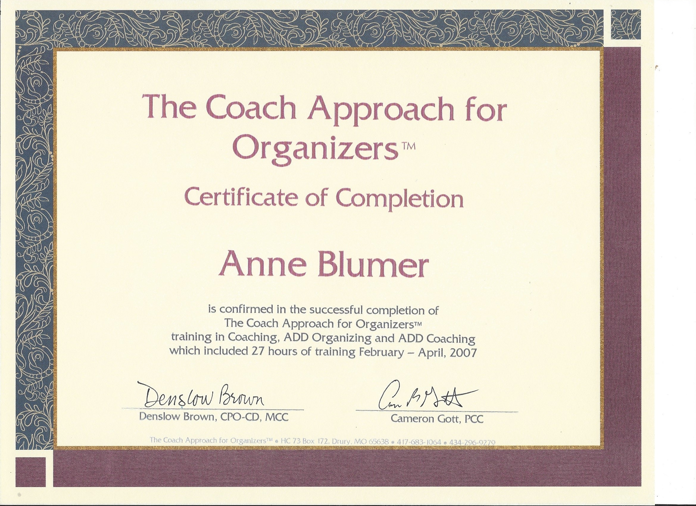 Organized Coach Certificate